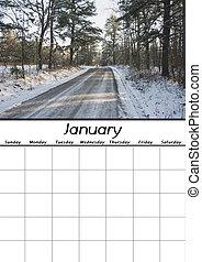 gennaio, calendario, vuoto