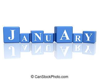 gennaio, cubi, 3d