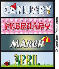 gennaio, febbraio, marzo, aprile