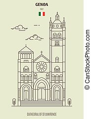 genova, cattedrale, italy., punto di riferimento, lorenzo, icona, st