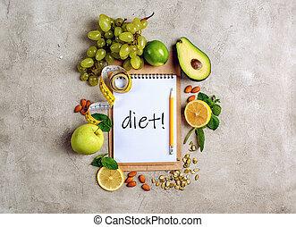 genuino, cibo, sano, concetto, fondo, vegetable.