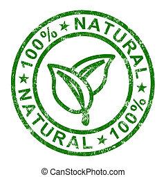 genuino, francobollo, 100%, prodotti, puro, naturale, mostra