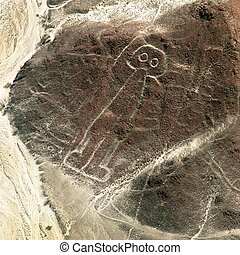geoglyphs, astronauta, misterioso, linee, nazca