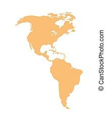 geografia, continente, silhouette, icona americana