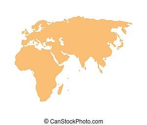 geografia, vecchio, continente, silhouette, icona