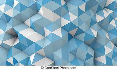geometrico, blu, superficie, polygonal, 3d