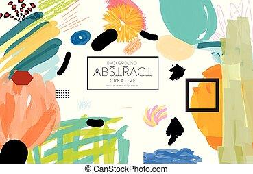 geometrico, collage, markercanyon, fatto, astratto, scribbles, strokesblack, forme