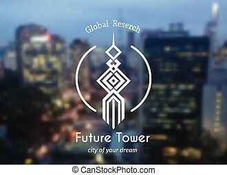 geometrico, emblema, torre