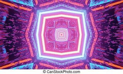 geometrico, luci, neon, illustrazione, riflessioni, variopinto, 3d