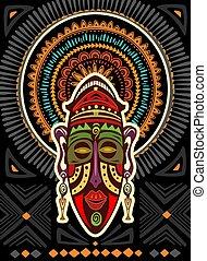 geometrico, ornamento, maschera, africano, fondo
