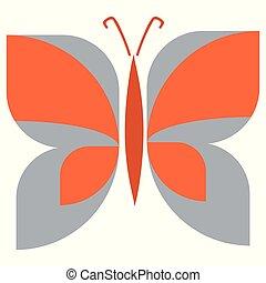 geometrico, vendemmia, appartamento, insect., primavera, disegnato, mano, colorare, vettore, clipart., astratto, farfalla, retro, illustration., insetto