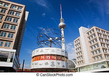 germania, alexanderplatz., orologio, worldtime, berlino