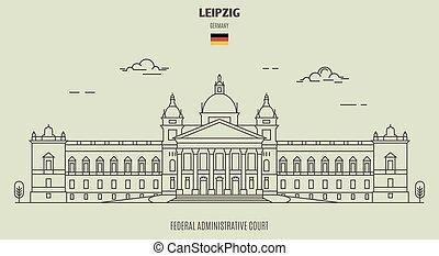 germany., corte, punto di riferimento, federale, leipzig, icona, amministrativo