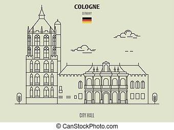 germany., punto di riferimento, colonia, municipio, icona