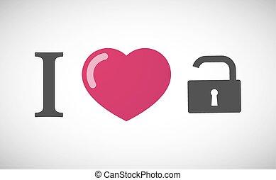 """geroglifico, love"""", serratura, """"i, cuscinetto, aperto"""