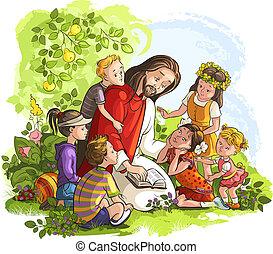 gesù, bambini, lettura, bibbia