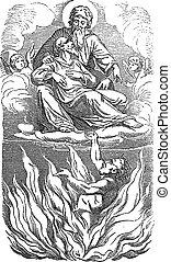 gesù, bibbia, disegno, nuovo, biblico, testamento, 16, uomo, povero, luke, ricco, vendemmia, lazarus., storia, parabola