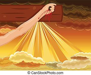 gesù, crocifissione, -, inchiodato, mano, croce
