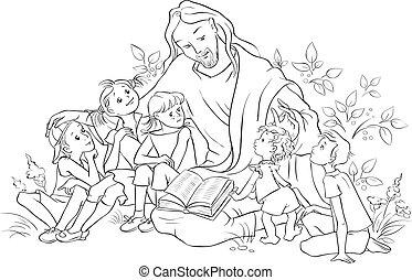 gesù, pagina, bibbia, coloritura, lettura, bambini