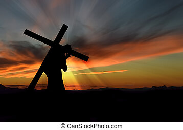 gesù, portante, croce, cristo