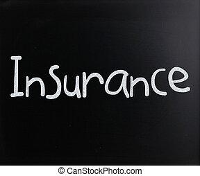 """gesso, parola, bianco, lavagna, scritto mano, """"insurance"""""""