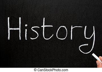 gesso, storia, scritto, blackboard., bianco