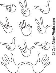 gesti, delineato, set
