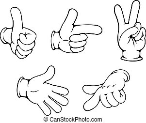 gesti, positivo, set, mani