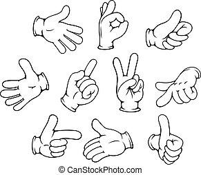 gesti, set, cartone animato, mano