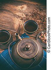 gettare, set, asiatico, ferro, tè