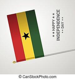 ghana, tipografico, bandiera, vettore, disegno, giorno, indipendenza