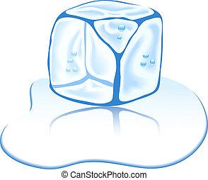 ghiaccio, cube.