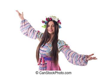 ghirlanda, ballo, giovane, costume, russo, ragazza