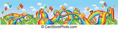 giù, arcobaleno, diapositiva, bambini