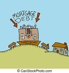 giù, debito, upside, ipoteca