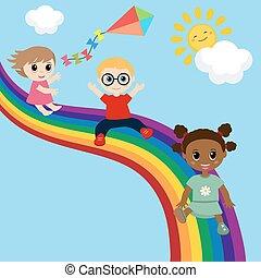 giù, diapositiva, rainbow., bambini