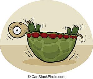 giù, tartaruga, upside
