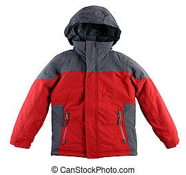 giacca, bianco, inverno, fondo, isolato