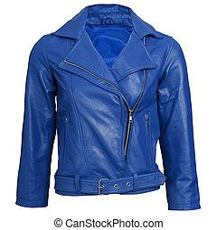 giacca blu, cuoio