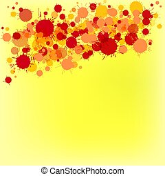 giallo, acquarello, luminoso, vettore, fondo, arancia, gocce, rosso