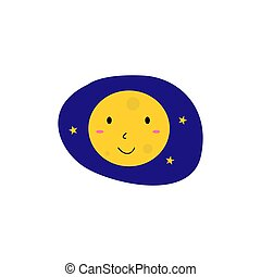 giallo, bambini, sorridente, luna blu