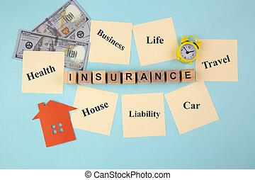 giallo, concetto, note, assicurazione, appiccicoso
