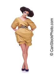 giallo, donne, vestire, bello