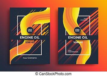 giallo, forme, disegno, fluido, olio, motore, pacchetto