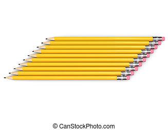 giallo, lato, matite, gruppo, accatastato, grafite, neatly