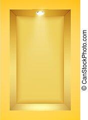 giallo, parete, riflettore, nicchia