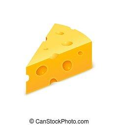 giallo, piece., blocco, formaggio, vettore, svizzero, triangolo, cheddar, cheese., realistico, fetta, isolato, icona