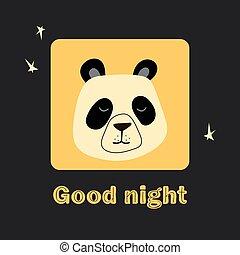 giallo, vettore, manifesto, panda, bambino, fondo., illustrazione, augurio, sonnolento, stampa, vestiti, nero, isolato, faccia, disegno, tessuto, t-shirt, notte, bello, cornice, buono, scheda