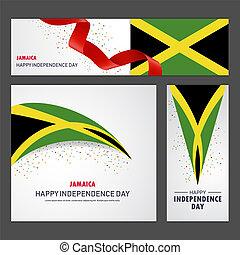 giamaica, set, fondo, bandiera, giorno, indipendenza, felice