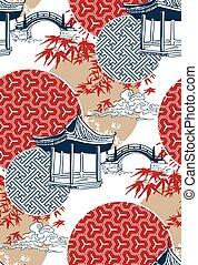 giapponese, modello, ponte, acero, cinese, cerchi, disegno, vettore, blu, rosso, alcova